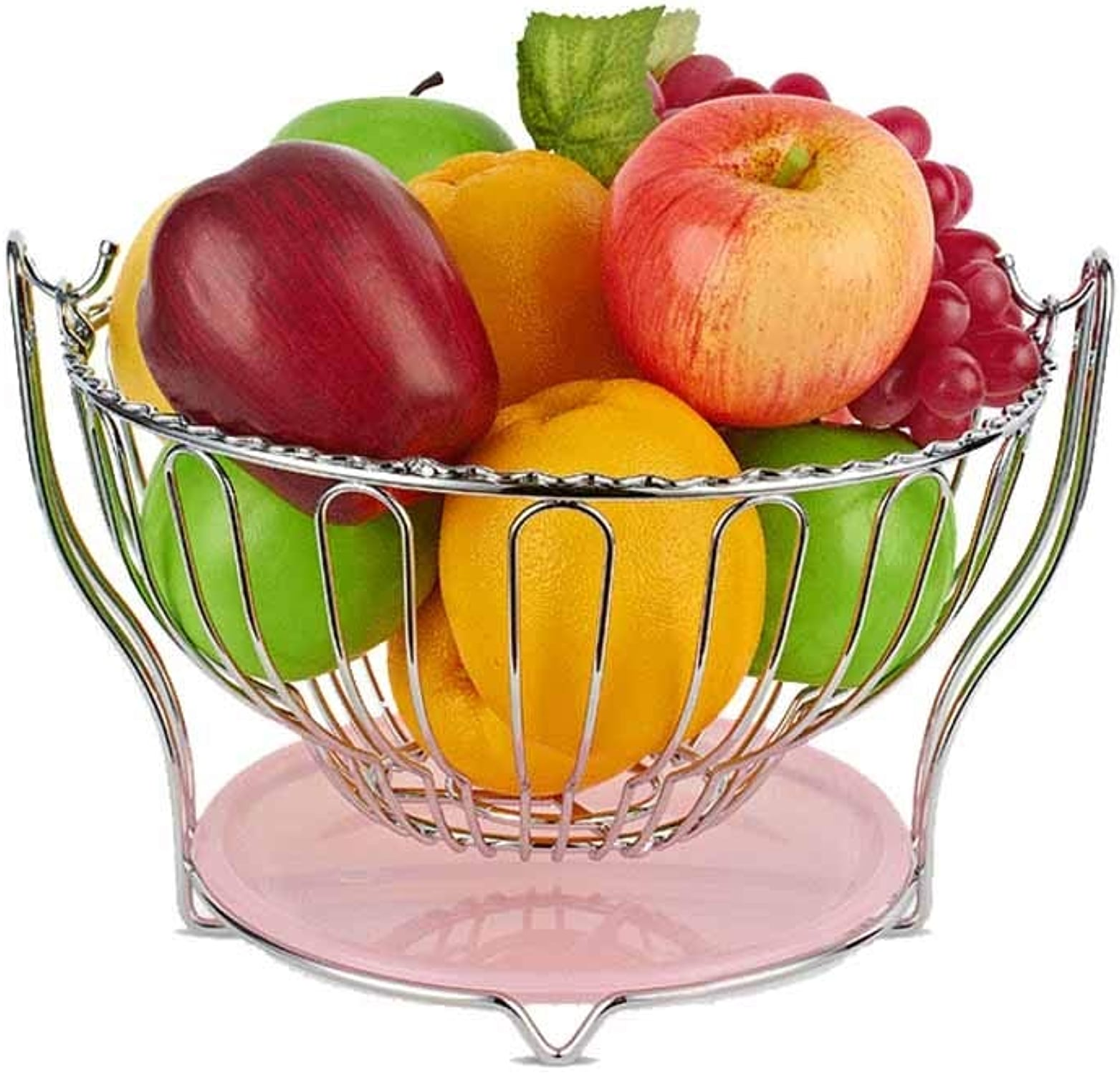 Aishanghuayi-ou Panier de fruits, panier de fruits de bureau créatif, style moderne stockage maison de stockage de collation de fruits, rond rose,Durable (Couleur   1)