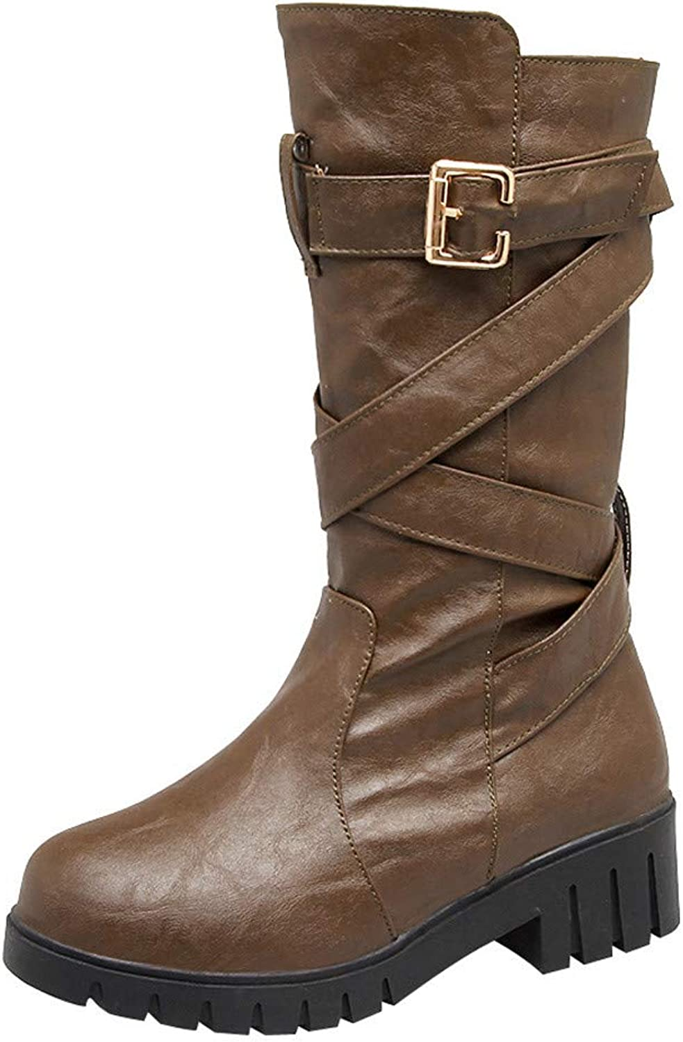 JESPER Women Thick Square Heel Mid-Calf Boots Retro Buckle Strap Round Toe Boots shoes