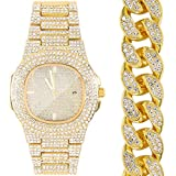 Luxury Men Diamond Watches, 18K Gold Plated Full Iced Out Rhinestone Quartz Analog WristWatch,Stainless Steel Band Bracelet Set