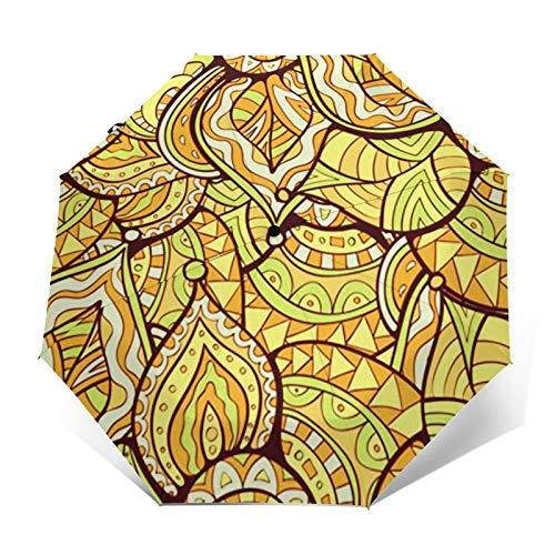 Ombrello Portatile Automatico Antivento, Ombrello Pieghevole Compatto, Folding Umbrella, Baldacchino Rinforzato, Impugnatura Ergonomica, Tappeto Doodle Foglia Luminosa