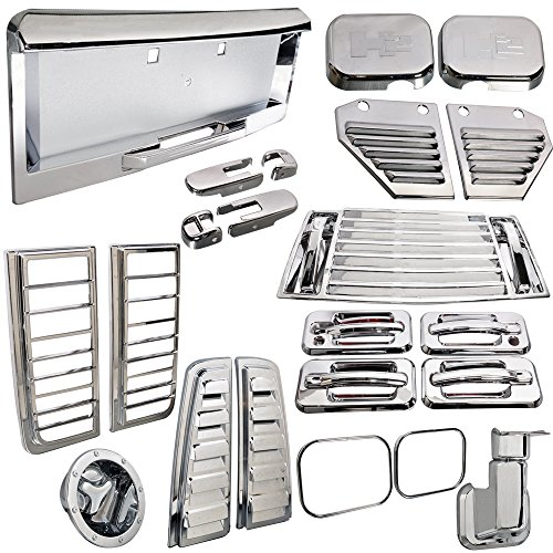 Vent Lamp Door Cover Compatible With 2003-2005 Hummer H2, Chrome ABS License 36Pcs by IKON MOTORSPORTS, 2004