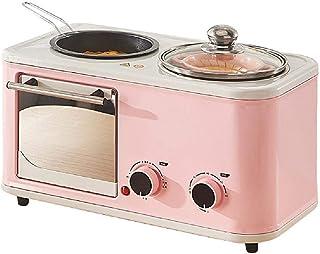 TSTYS Tostadora Sopa Olla hogar nutrición Multifuncional cocinar máquina freír Asar Vapor 3 en 1 Perilla de Control Doble calefacción por Suelo Radiante Horno,Pink