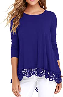 QIXING Women's Tops Long Sleeve Lace Trim O-Neck A-Line Tunic Blouse