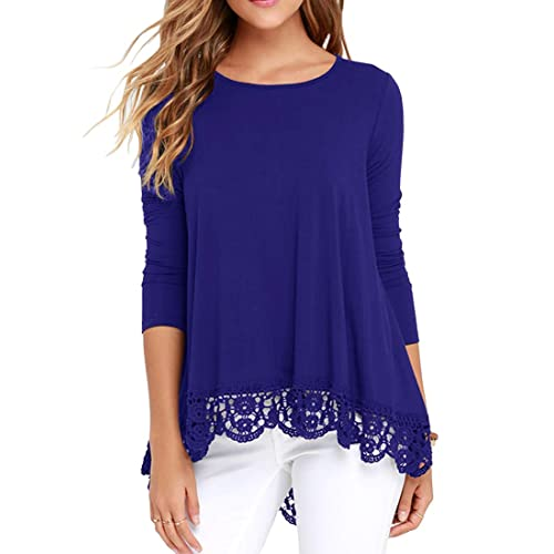 c58385e7fb368 QIXING Women s Tops Short Sleeve and Long Sleeve Lace Trim O-Neck A-Line