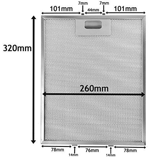 SPARES2GO Metalen gaasfilter voor Proline Cooker afzuigkap/afzuigkap Ventilator (zilver, 320 x 260 mm)