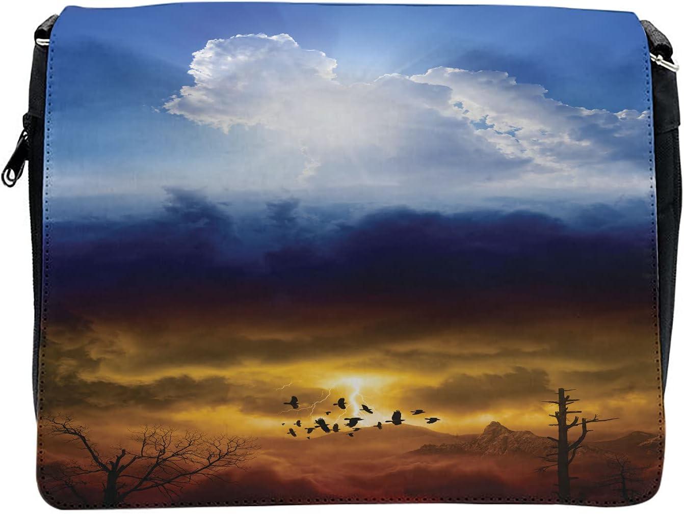 Ambesonne Nature Cross Body Messenger Bag, Sun Stormy Sky Heaven, Unisex