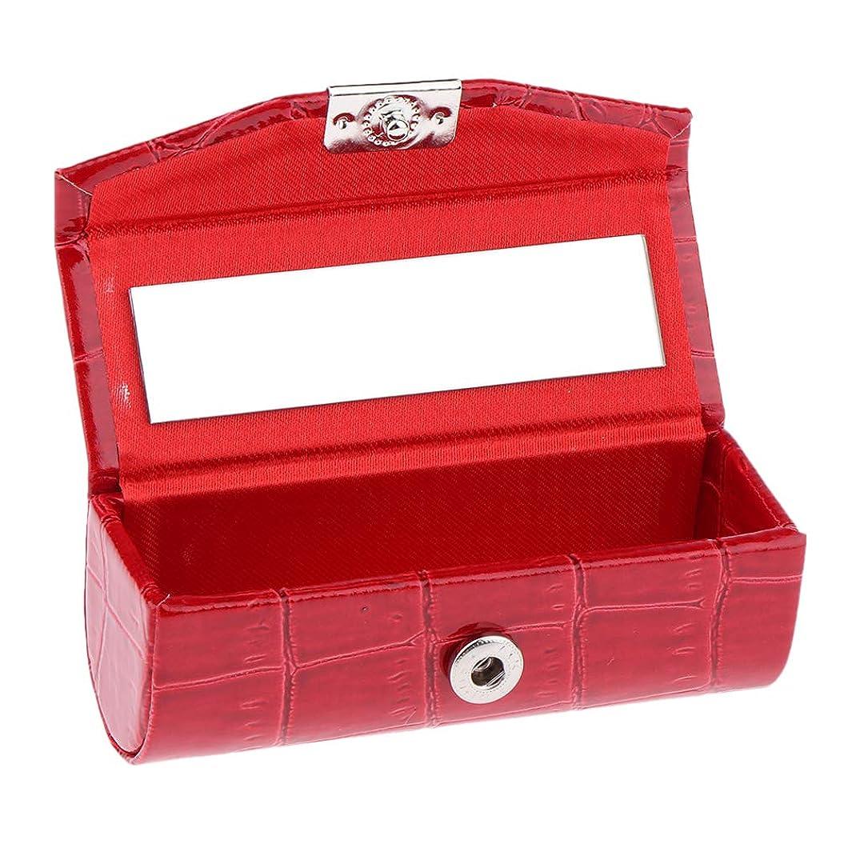 エスカレート経度虹IPOTCH レザー リップスティックケース 口紅ホルダー ミラー 収納ボックス 多色選べ - 赤