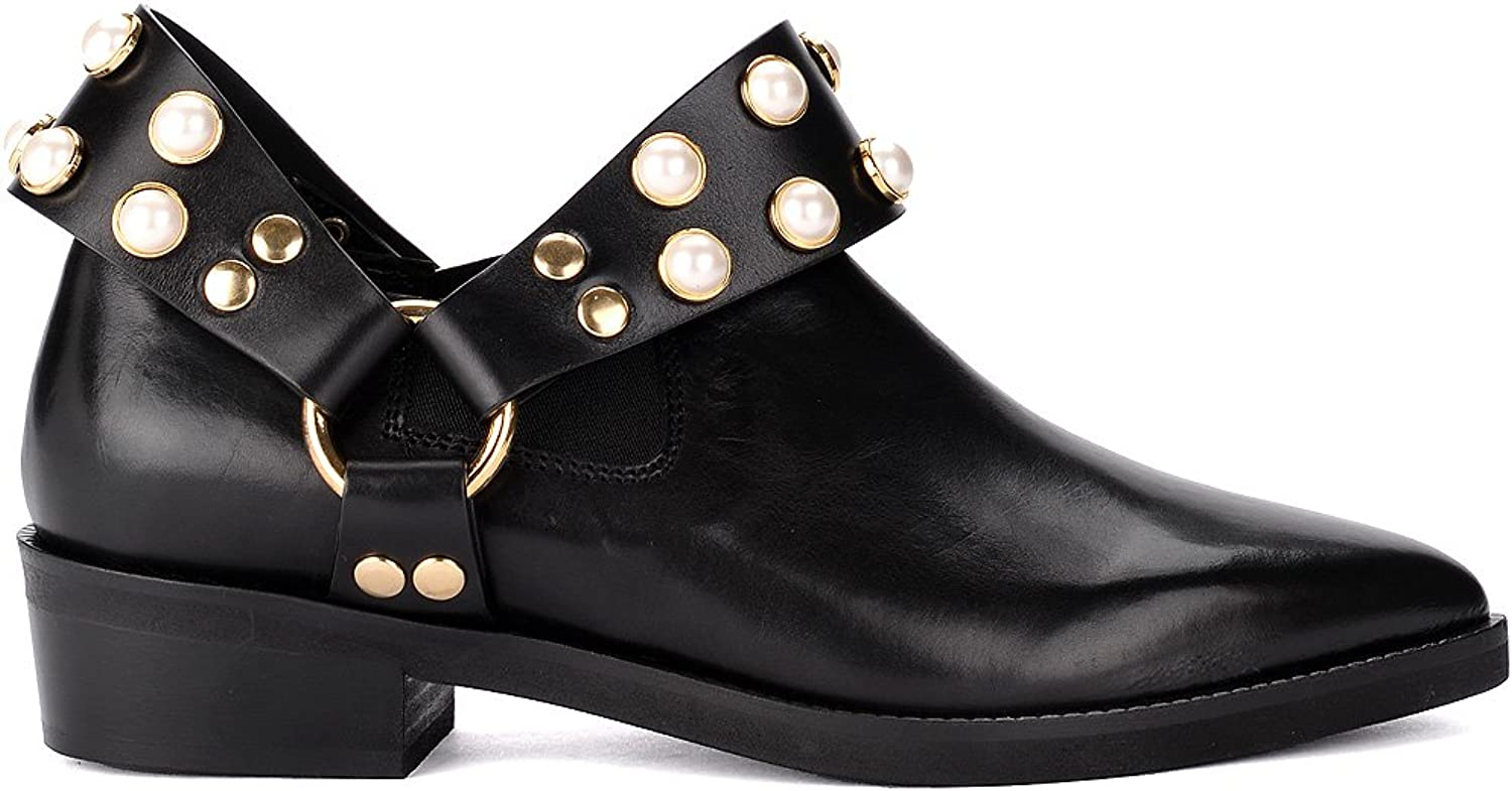 Coliac Woman's GRIET Black Leather Ankle Boot with Pearls