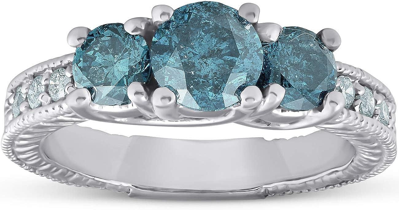 1 1/2 Ct Three Stone Vintage Blue Diamond Engagement Ring 14k White Gold Antique