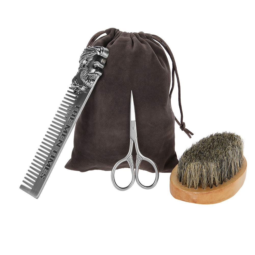 Beard Brush Set with Pig Mane and trend rank 35% OFF Zinc Solid Alloy 6. Wood 11.2