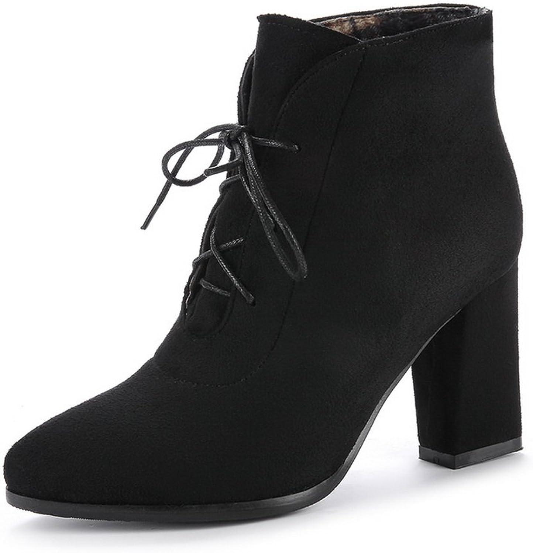 AandN Womens Boots Closed-Toe Lace-Up Adjustable-Strap High-Heel Warm Lining Road Nubuck Outdoor Urethane Cuff Urethane Boots DKU01926
