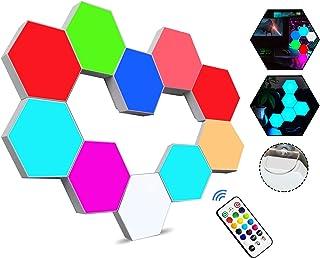 Sechseckige LED Wandleuchten mit Fernbedienung,Intelligente LED Lichtplatten RGB Gaming Lampe Touch-Steuerung Stimmungsbel...