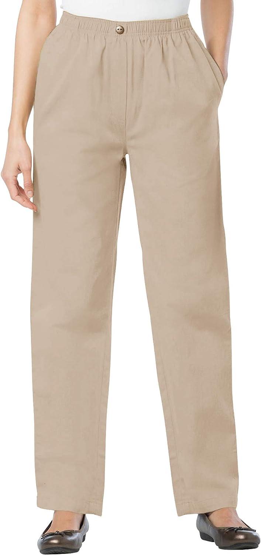 Woman Within Women's Plus Size Tall Elastic-Waist Cotton Straight Leg Pant