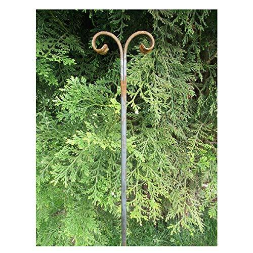 EQT-TEC Rankhilfe Rosenstab mit Zierspitze Ornament 170cm Edelrost Garten Rosen Ranken Deko Pflanzen