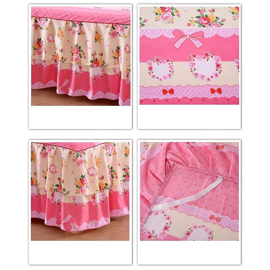 アダルト体現するくつろぎFarlong 高級寝具セット、厚手の花柄ソフト二段ベッドスカート+ 2枕カバー、3個セット