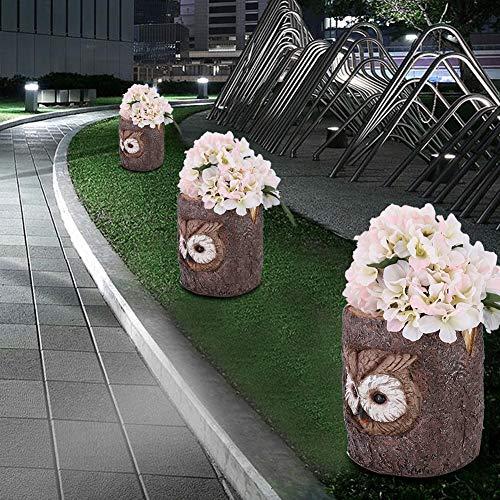 Bicaquu Solar Power Resin Owl Pathway Lights Garden Lawn Yard Landscape Decorative Lamp