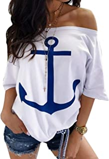 Women's Oversized Short Sleeve Off Shoulder Anchor Printed Blouse Tops