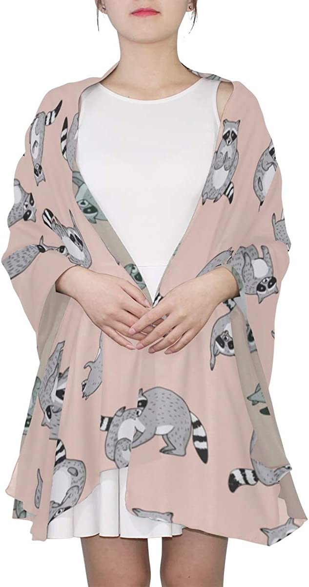Cute Cartoon Raccoon Unique Fashion Scarf For Women Lightweight Fashion Fall Winter Print Scarves Shawl Wraps Gifts For Early Spring
