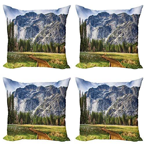 ABAKUHAUS Yosemite Set de 4 Fundas para Cojín, Norte Dome Valley Park, Estampado Digital en Ambos Lados y Cremallera, 40 cm x 40 cm, Verde del carbón de leña