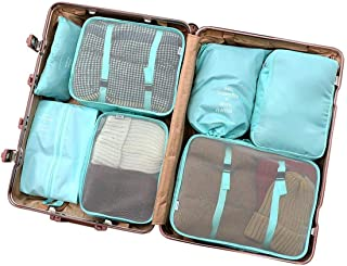 Packing Cubes for Travel, 7 Set Luggage Organizer with Shoes Bag, Compression Cells, Accessories Bags Made with Lightweight Waterproof Material. (Light Blue - 7PC)