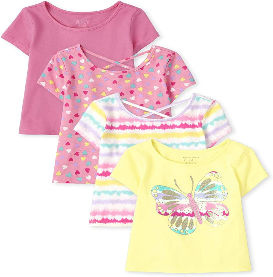 The Children's Place Toddler Girls Print Basic Layering Tee 4-Pack