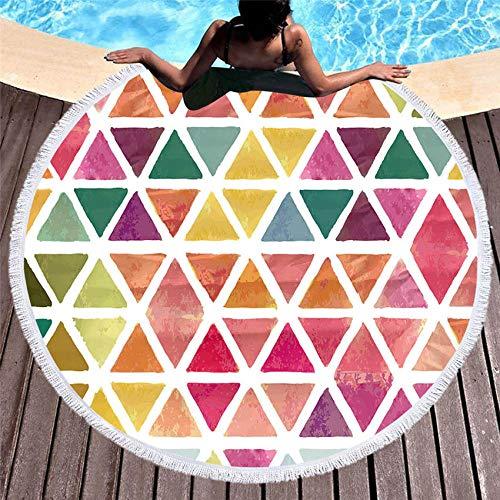XIAOHUKK Toalla de baño de Microfibra Redonda con Estampado 3D de Verano geométrico Multicolor, Manta de Viaje, cojín de natación, Toalla de Playa