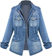Women Casual Denim Jacket Stand Neck Washed Long Sleeve Blazer Outcoat Plus Size