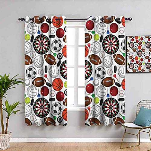 Sports Decor Collection Kids Curtain Pattern with Billiards Balls Hockey Pucks Darts Arrows and Target Boards Image Soundproof Shade Orange White Burgundy W63 x L63 Inch