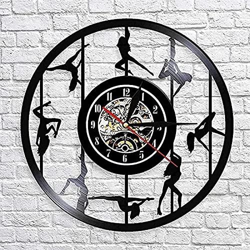 Reloj de pared Pole Dance Led Disco de vinilo Reloj de pared Estilo retro Mudo Decoración del hogar Características de arte únicas Accesorios para el hogar Regalos personalizados creativos CON LED