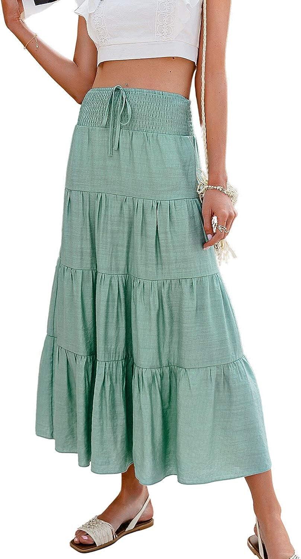 MulEtour Women's Fresno Mall Boho Floral Print A Be Line Japan Maker New Long Skirts Summer
