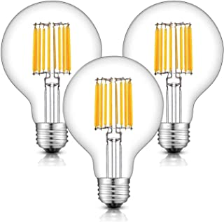 OMAYKEY 10W Edison LED Globe Bulb (100W Equivalent) 2700K Warm White 1000 Lumens, E26 Base Vintage Style G25 / G80 Clear Glass Globe LED Filament Light Bulbs, Non-dimmable, 3 Pack