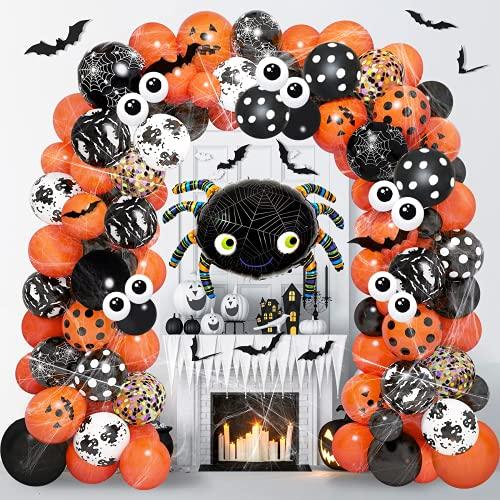 125 Piezas Guirnalda de Globos de Halloween Globos Confeti de Látex Negros Naranjas Telaraña Murciélago Calabaza Fantasma Globos Decoración de Halloween para Niños Fondo de la Fiesta en el Aula