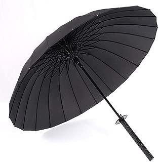 Black Umbrella Sunny & Rainny Long Handle Umbrellas Semi Automatic 8, 16 Or 24 Ribs,24K