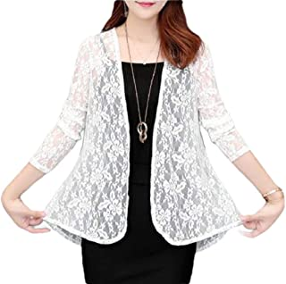 Women See-Through Lace Cardigans Long Sleeve Open Front Cover Up