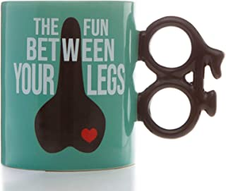 Boxer Gifts Fun Between Legs Bike Mug | Unique Cycle Shaped Handle | Funny Birthday Christmas Secret Santa Gift for Cyclis...
