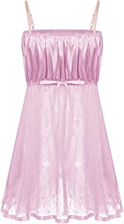 iiniim Camison Men's Suspenders Dress Lace Sleeping Sissy Lingerie Satin Sleepwear Night Pyjamas Soft Princess Nightwear