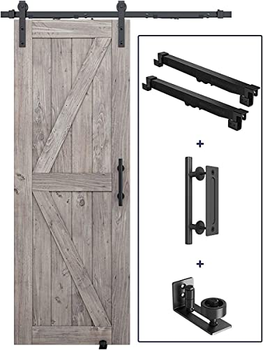 """5 FT Soft Close Sliding Barn Door Hardware Kit, Handle and Floor Guide Bundle - Smoothly and Quietly - Simple and Easy to Install - Fit 30"""" Door Panel (I Shape)"""