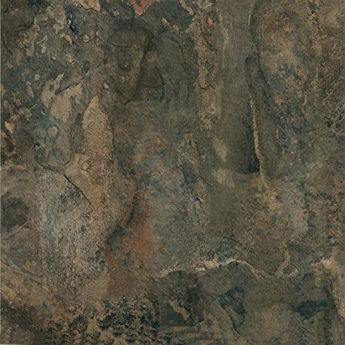 "Pack of 20 Elegant Home 12"" x 12"" Self Adhesive High Gloss (No Wax) Finish 1.2mm Thick Vinyl Tiles - Dark Slate Marble"