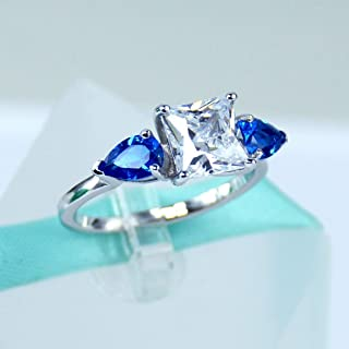 2Carat Princess Cut Simulated Diamond, Blue Pear, 925 Sterling Silver Solitaire Ring, Cubic Zirconia, Women Engagement Ring, Promise Ring