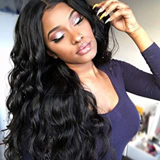 18inch 360 Lace Frontal Wigs Human Hair Wigs Pre Plucked With Baby Hair For Black Women 150% Density Brazilian Body Wave Wet and Wavy Human Hair Lace Front Wigs Pre Plucked