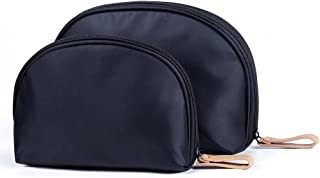 Black Small Travel Handy Makeup Cosmetic Bags Organizer Set of 2 For Purse For Women Teens Girls(2 of pack)