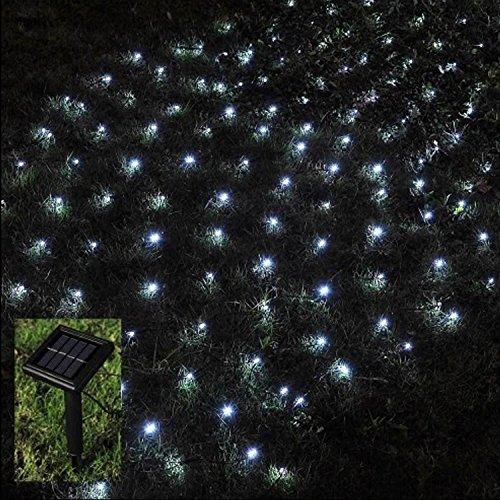 105 LED OUTDOOR NET LIGHTS SOLAR POWERED WHITE GARDEN FAIRY STRING EFFECT