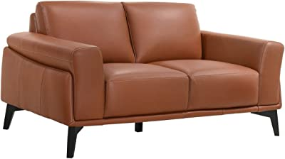 Benjara Leather Upholstered Loveseat with Track Arms and Contrast Stitching, Pink