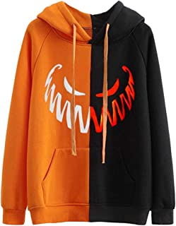 KLFGJ Women's Halloween Pumpkin Face Long Sleeve Hoodie Sweatshirts Casual Hooded Pullover Tops