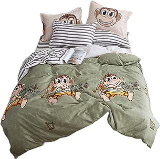 LuDan Black and White Stripes Microfiber Monkey Duvet Cover Set Fashion Design Bedding Set Twin Full Queen King Set Size [3 Piece: Duvet Cover, 2 Pillow Cases] No Comforter (Monkey, Twin)