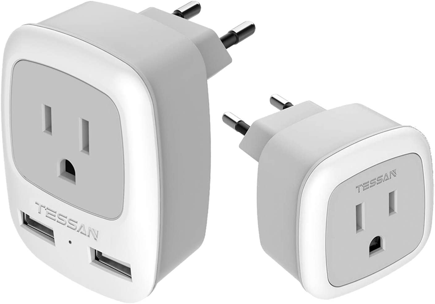 European Travel Plug Adapter, TESSAN Type C International Power Outlet with 2 USB, Come with Compact European Charger Adaptor, US to Most of Europe EU Israel Spain Iceland Germany France Italy