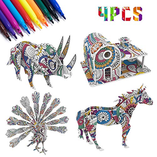 Yofidra 3D Colouring Puzzle Set for Kids, Art and Crafts for Kids Girls Boys 3-12 Year Old Creative DIY Toys for Kids Birthday Gift
