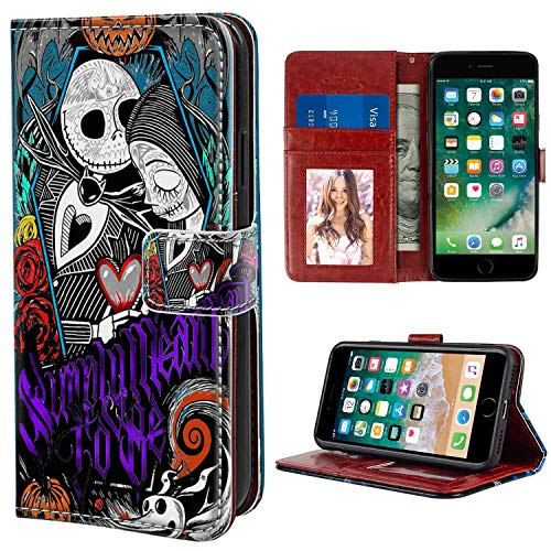 DISNEY COLLECTION Wallet Case for iPhone 6S and iPhone 6 [4.7 Inch] Jack Skellington Nightmare Before Christmas Sally Halloween Simply Meant to Be