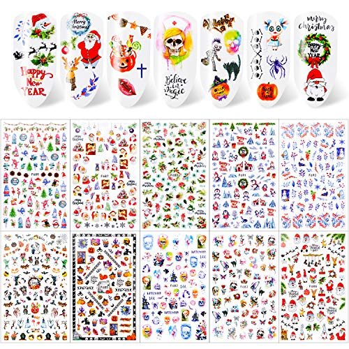 Qpout 600+pcs Christmas Nail Stickers, Self-adhesive 3D Nail Decals, Holiday Nail Stickers for Women Girls Nail Decorations, Santa Claus, Snowman,Reindeer, Snowflake
