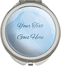 Personalized Custom Blue Watercolor Background 2 Lines of Text Compact Travel Purse Handbag Makeup Mirror